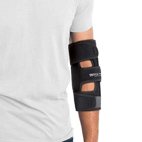 Elbow Brace, Elbow Immobilizer Stabilizer Support Brace/Splint, Night Elbow Splint for Sleeping, Adjustable Stabilizer with 4 Removable Splints for Cubital Tunnel Syndrome, Tendonitis, Ulnar Nerve, Men, Women (Black, 24 inch x 9 inch)