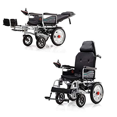 Lichtgewicht Transport rolstoel met Handrem Heavy Duty Electric, folding Portable Powerchair Met Seat Belt, elektriciteit of handmatige manipulatie, verstelbare rugleuning en Pedaal, joystick