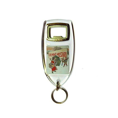 Colman's mosterd jongens en meisjes sneeuwbal vechten retro shabby chic vintage stijl acryl sleutelhanger sleutelhanger en flesopener
