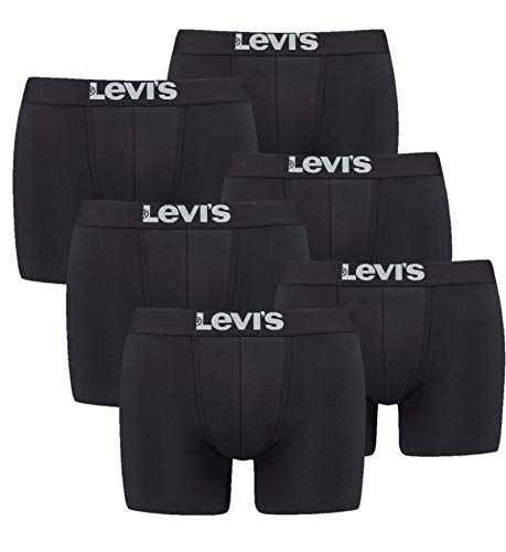 Levi's Herren Boxershorts 6er Pack - Solid Basic Boxer Brief - 905001001 (Schwarz, L)