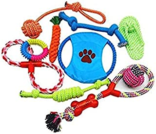 Beauenty 10 Pcs Pet Puppy Toys Gift Set Ball Rope and Chew Squeaky Toys for Dog Cat (10pcs)