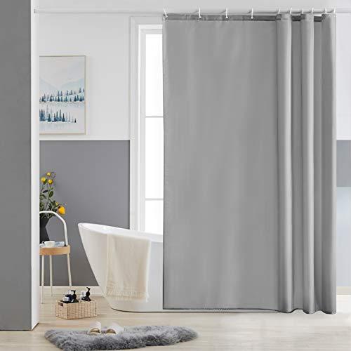 Furlinic Schmaler Duschvorhang für Dusche und Badewanne, Badvorhang Textil aus Polyester Stoff schimmelresistent Wasserabweisend und Waschbar, Grau 150x180 mit 10 Duschvorhangringen.