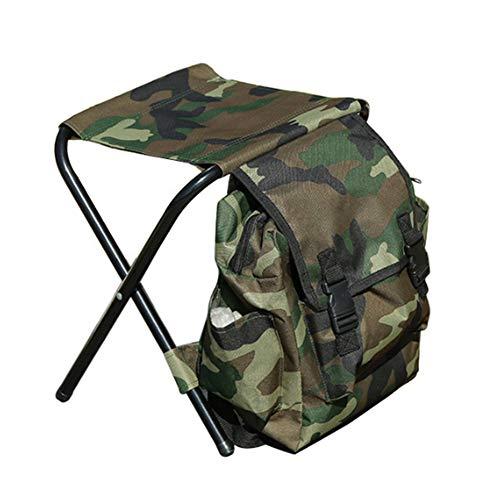 Klappbarer Campingstuhl-Hocker-Rucksack, Mini-Klappstuhl Im Freien, Tragbare Sitztisch-Tasche FüR Das Indoor-Angeln Im Freien Reisen Wanderstrand BBQ (Camouflage)