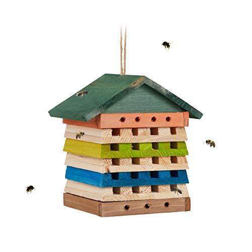 Relaxdays Insektenhotel, Wildbienen & Wespen, Nisthilfe m. Dach, Garten, Balkon, Bienenhotel HBT 19,5 x 18 x 14 cm, bunt