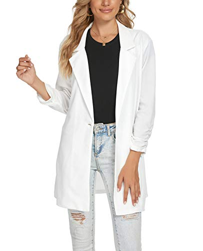 Women's One Button Knit Boyfriend Blazer Casual Officewear Lightweight Cardigan (White-Size M)