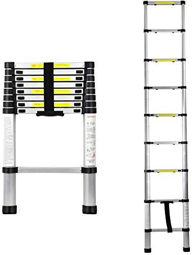 2.6M Teleskopleiter, Aluminium Ausziehleiter Hohe Mehrzweckleiter, Rutschfester Mehrzweckleiter, 150 kg 330 Pfund Belastbarkeit, Ausziehbar Leiter
