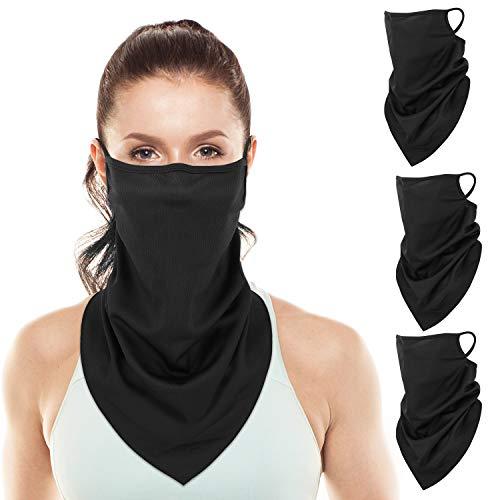 Rhino Valley [3 PZS Bandanas Faciales con Orejeras, Máscara Polaina de Cuello Protección UV Polvo Diadema de Pasamontañas Balaclava para Ciclismo Motocicleta Esquí Senderismo - Negro