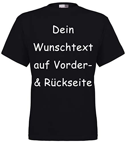 Marken T-Shirt mit Wunschtext - Front- und Rückenprint - Schwarz L - Sprüche indivduell auf das T-Shirt drucken Lassen | Personalisierter Textildruck