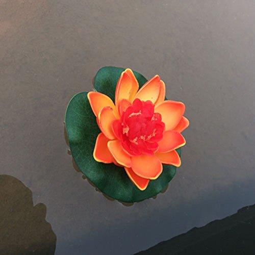 Gemini_mall® Schwimmende Teichdekoration Seerose / Lotusblüte, Schaumstoff, 10 cm, Orange