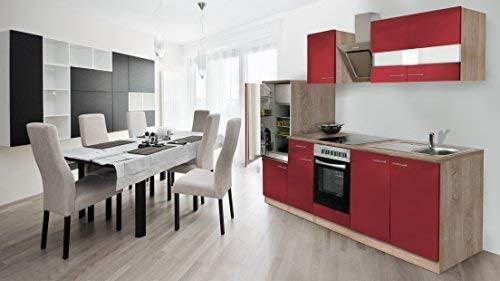 respekta Empotrable Cocina Cocina pequeña 270 cm Roble Sonoma Madera aserrada áspera Frontal Rojo Ceran & Campana extractora de diseño