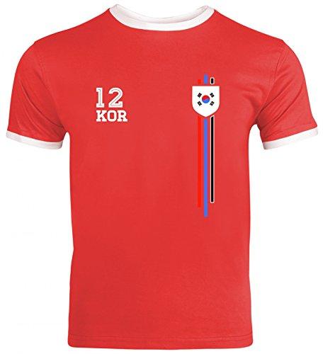Soccer World Cup Fussball WM Fanfest Gruppen Herren Männer Ringer Trikot T-Shirt Streifen Trikot Korea, Größe: S,Red/White