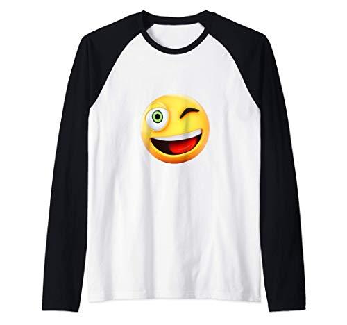 guiño divertido ojo emoji cara feliz emojis regalo emoticon Camiseta Manga Raglan