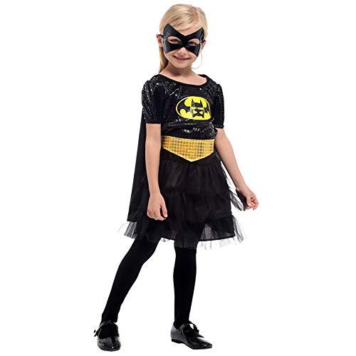 Fanvone Vestido de Fiesta de Halloween para niñas Disfraz de Batman for niños Batman Princess Skirt Mask Niños Disfraz de Halloween Niñas Niños Vestido de Cosplay de Halloween Vestido Cosplay niñas