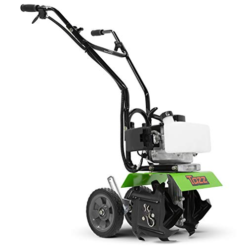 TAZZ 35351 Garden Cultivator, 33cc 2-Cycle Viper Engine, Gear Drive Transmission, Adjustable Height Wheels, Green