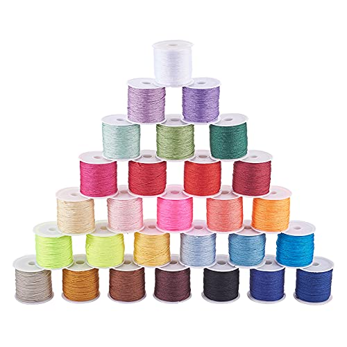 PandaHall Cuerda de nailon de 28 colores, 0,8 mm, cuerda de nailon china, cuerda de tejer a mano, hilo de cuentas para hacer joyas, pulseras, hilo de abalorios, 1260 yardas totalmente