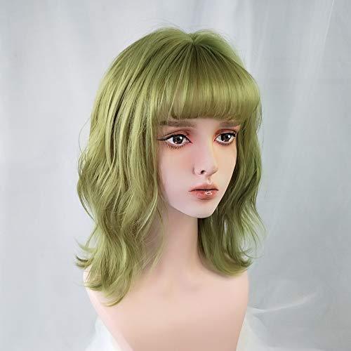 Wassertanz Grüne Perücke Weiblich Mittellanges Haar Kurzes Haar Cool Gut Aussehend Kurz Lockiges Haar Weibliches Mädchen Pullover Perücke Fluoreszierendes Grün