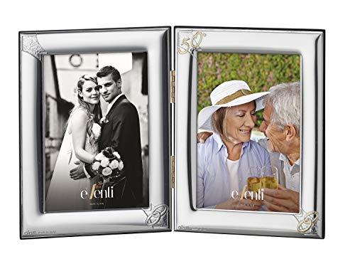 Portafotos Doble y Personalizado Bodas de Oro en Plata Bilaminada