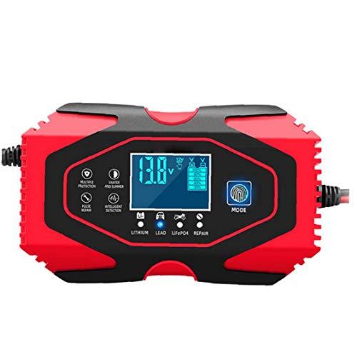 Runfun Cargador De Batería De Coche De 12v 24v Automático Mantenedor De Mantener Y Reparar con Pantalla LCD Más Tipos De Vehículos De La UE Plug Herramientas