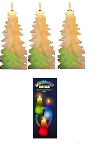 Regenbogenkerze Tannenbaum 3er Set Höhe 12 cm Ø 7,0 cm Beleuchtung Kerzen 11713