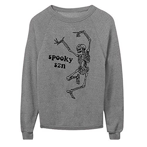 Wave166 Camiseta de Halloween con diseño de esqueleto bailando, camiseta de manga larga, cuello redondo, suelta, informal, para carnaval, fiestas, para mujeres, gris, M