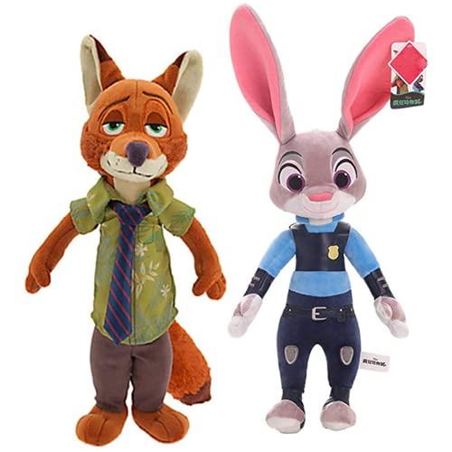 PDPDE 2 unids 40 cm Zootopia Peluche Juguete Lindo Nick Wild Rabbit Judy Hopps Peluche de Juguete Muñeca Suave Muñeco Mimulístico Juguetes Niños Regalo