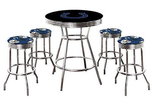 """5 Piece Black Pub/Bar Table Set with 4 – 29"""" Swivel Stools Featuring Your Favorite Football Team Logo Fabric Covered Seat Cushions! (Colts)"""