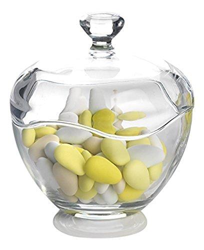 Transparentes, geschliffenes Glas, Runde Zuckerdose, Behälter für Bonbons, Süßigkeiten, Schüssel mit Deckel,   Toscany