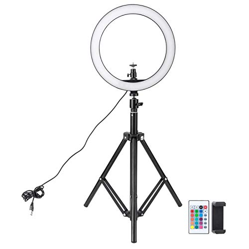 Emoshayoga Selfie Fill Light Lámpara anular alimentada por USB Multicolor Ajustable para Varios tamaños de teléfonos para Maquillaje Video Live Studio