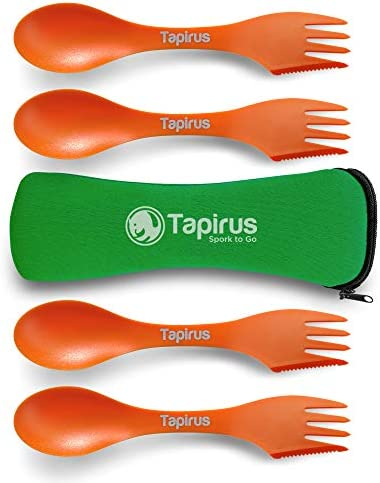 Tapirus 4 Orange Spork to Go Set Durable and BPA Free Sporks Spoon Fork and Knife Combo Utensils product image
