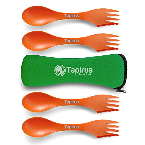 Tapirus 4 Orange Spork to Go Set - Durable and BPA Free Sporks - Spoon, Fork and Knife Combo Utensils Flatware - Mess Kit for Camping, Hunting and Outdoor Activities - Comes in a Carrying Case
