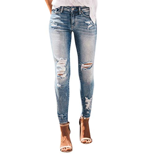 RISTHY Pantalones Jeans Rotos Vaqueros Push Up Vaqueros Elásticos Pantalones de Cintura Alta Straight Denim Pants Sexy Pantalones lápiz Pantalones de Mezclilla Casual para Mujer