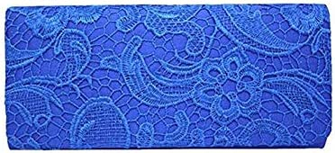 Yujiayi Lace Womens Wallet Elegant Floral Lace Evening Party Clutch Bags Bridal Wedding Purse Handbag(Blue)