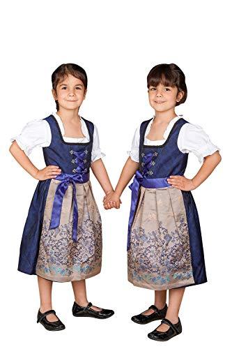 Edelnice Trachtenmode Kinder Dirndl Royalblau Gold 3-TLG. inkl. Bluse und Schürze (140)