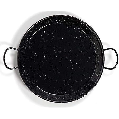 La Valenciana - Paellera de Acero esmaltado, 10 cm, Color Negro, Negro, 30 cm