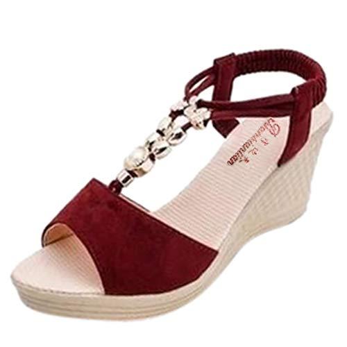 NMERWT Damen Sandalen Keilabsatz Schnur Korn Einfarbig Wedges String Bead Beiläufige Römische Sandelholz High Heels Elegant Frauen Schuhe Pumps