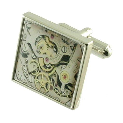 Select Gifts Imprimé montre Horloge à quartz Boutons de manchette pour homme en argent sterling 925 massif Boutons de manchette + Boîte de message gra