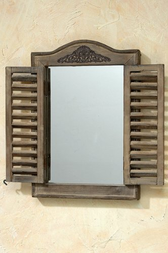 B&B WANDSPIEGEL IN BRAUN Modell FENSTERLADEN Spiegel Holz BAROCK