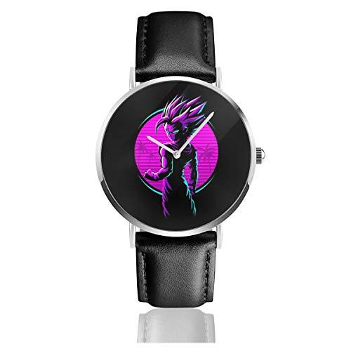Unisex Business Casual Dragon Ball Z Retro Gohan Ink Watches Quarz Leder Armbanduhr mit schwarzem Lederband für Herren Damen Young Collection Geschenk