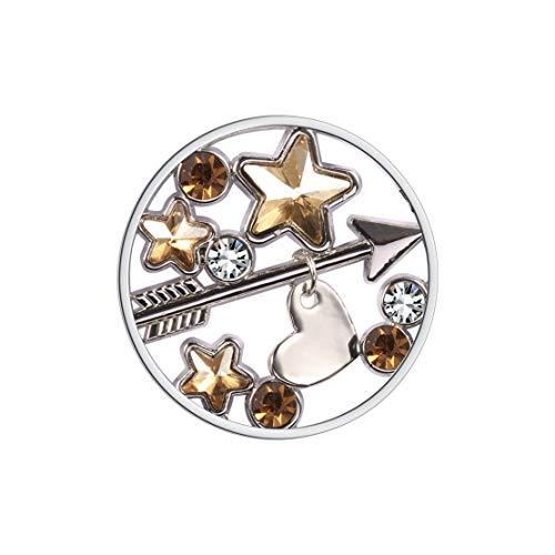 Meilanty Damen Halskette Anhänger Coin 33mm für Münzfassungen Edelstahl Stern Zirkon Herz Pfeil GP-48