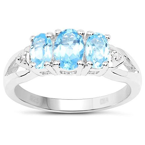 De Topaas Ring Collectie: Sterling zilveren 3 steen blauwe topaas verlovingsring met diamanten set schouders, Verlovingsring, Eeuwigheidsring, Moederdag, Jubileum, Cadeau, Ringgrootte 9,10,11,12,13,15,16,17,19,24,20,15,6,21,22