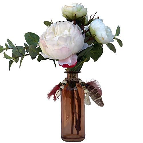 BOTANIC DESSIGN Ramo de Flor Artificial con jarrón Incluido. Centro de Flor Artificial con peonía en Color Blanco Puro, Tallos de Rosas en Color Blanco Verdoso y eucalipto Verde