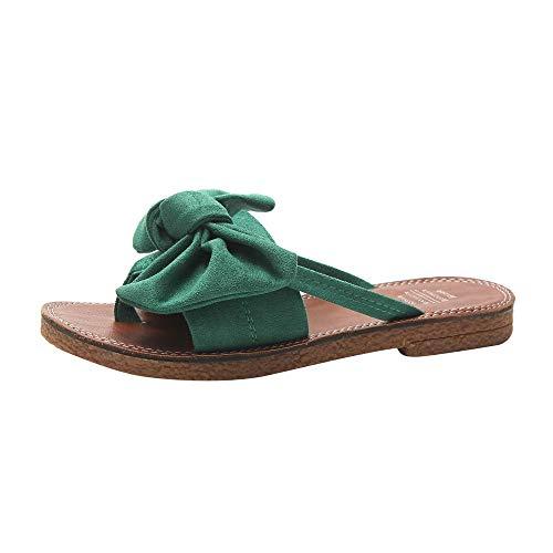 WDDNTX Sandalen met strik van PU-leer voor dames, diapositieve strandschoenen, sandalen, dames, pantoffels, vlakke hiel, flip flops, sandalen, blote voeten