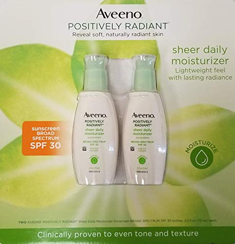 AVEENO Active Naturals Positively Radiant Daily Moisturizer SPF 30, 2.50 oz (Pack of 2)