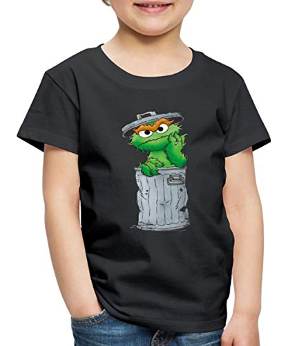Sesamstraße Oscar Mülltonne Kinder Premium T-Shirt, 110-116, Schwarz