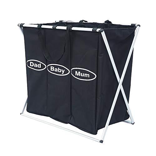 Fabric Laundry Bag Large 3 Grid Laundry Basket Hamper Bathroom Folding Storage Basket Compartment Moisture Color  Black Size  653957cm