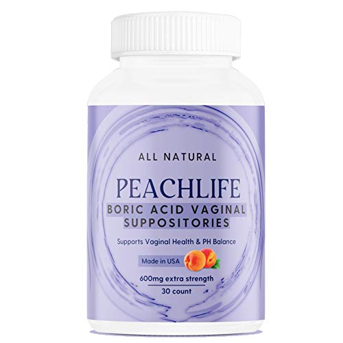 Boric Acid Vaginal Suppositories - 30 Capsules by Peachlife Inc - Made in USA - Bacterial Vaginosis, Yeast Infection, Candida, UTI Support - Ultra Fine Powder - 600mg Extra Strength