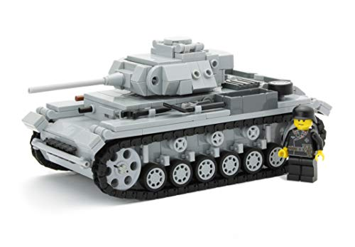 Carro Armato Tedesco III con Figura | Soldato della seconda Guerra Mondiale con Accessori Custom BrickArms | è costituito da Parti Lego