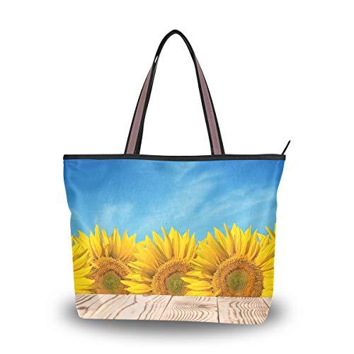 Orediy Große Damen Tragetasche Holztisch im Sonnenblumenfeld Griff Handtasche Schultertasche für Arbeit Schule Einkaufstasche, multi - Größe: L