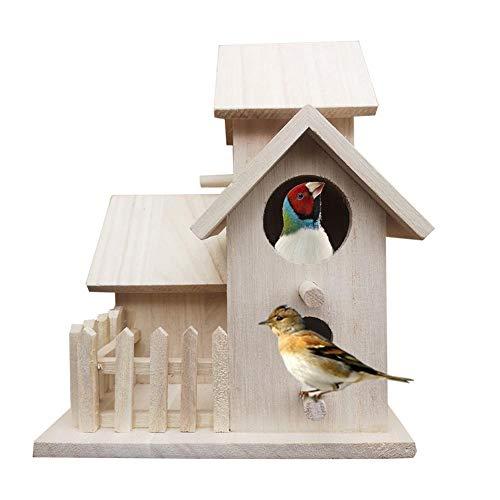 Doe-het-zelf vogelhuis, hangen, vogelnest, vogelhuisje, tuinvolier voor kleine vogel 21 x 16 x 16 cm, schuine dak: bescherming tegen regen en zon, geschikt voor tuinen, balkons en velden