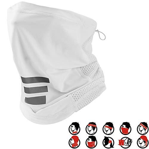Creing 2pcs Multifunktionstuch Halstuch in vielen verschiedenen Designs vielseitig einsetzbar 10 Tragevarianten | Einstellbares Gummiband | Sturmhaube | Schlauchschal | Stirnband | Piratentuch,White